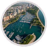 Belmont Harbor Chicago Round Beach Towel