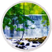 Below The Waterfall Round Beach Towel