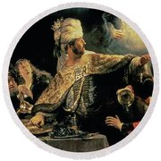 Belshazzars Feast Round Beach Towel by Rembrandt