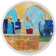 Belted Galloway Cows And People At Exeter Cathedral Round Beach Towel