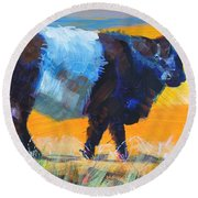 Belted Galloway Cow Side View Round Beach Towel