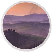 Belvedere And Tuscan Countryside Round Beach Towel