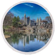 Belvedere Castle And Turtle Pond Round Beach Towel