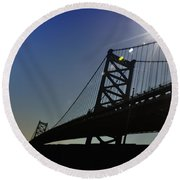 Ben Franklin Bridge 2 Round Beach Towel