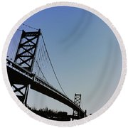 Ben Franklin Bridge Round Beach Towel