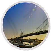 Ben Franklin Bridge From The Marina Round Beach Towel