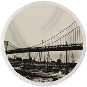 Ben Franklin Bridge From The Marina In Black And White. Round Beach Towel