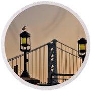 Ben Franklin Bridge In Early Morning Round Beach Towel