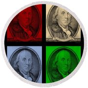 Ben Franklin In Colors Round Beach Towel