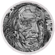 Ben In Wood B W Round Beach Towel