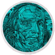 Ben In Wood Turquoise Round Beach Towel