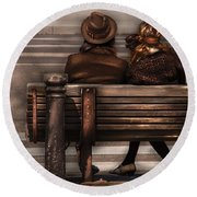 Bench - A Couple Out Of Time Round Beach Towel
