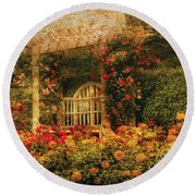 Bench - The Rose Garden Round Beach Towel