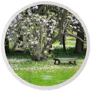 Bench Among Magnolia Round Beach Towel