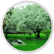Bench Among.the Blossoms Round Beach Towel