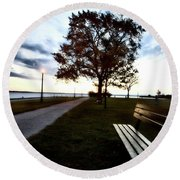 Bench And Street Light Round Beach Towel