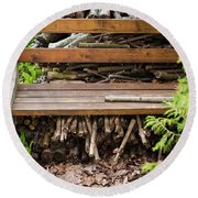 Bench And Wood Pile Round Beach Towel