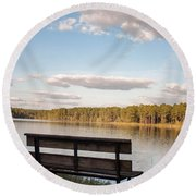 Bench By The Lake Round Beach Towel