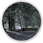 Bench By The Stream II Round Beach Towel