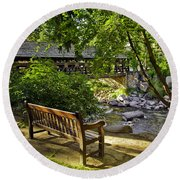Bench By The Stream IIi Round Beach Towel
