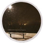 Bench For The Snowflakes Round Beach Towel