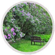 Bench In Lillacs Round Beach Towel