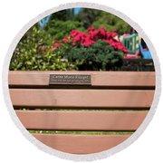 Bench In Steelhead Park Round Beach Towel