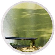 Bench On A Lake Round Beach Towel