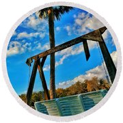 Bench On The River Round Beach Towel