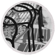 Bench Shadows Round Beach Towel