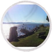 Benches Water Sun And Boat Round Beach Towel