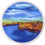 Bend In The River Round Beach Towel by Stephen Anderson