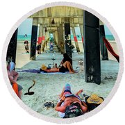 Beneath The Jacksonville Beach Pier  Round Beach Towel