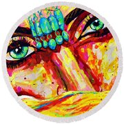 Exotic Desert Eyes Painting, Beneath The Niqab Round Beach Towel