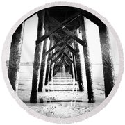 Beneath The Pier Round Beach Towel