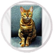 Bengal Cat Digital Oil Pastel Round Beach Towel