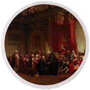Benjamin Franklin Appearing Before The Privy Council  Round Beach Towel by Christian Schussele