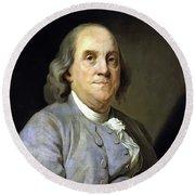 Benjamin Franklin Painting Round Beach Towel
