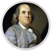 Benjamin Franklin Round Beach Towel by War Is Hell Store