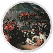 Benjamin West Round Beach Towel by The Death of Nelson
