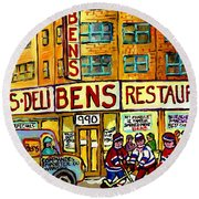Ben's Famous Smoked Meat Montreal Memories Canadian Paintings Hockey Scenes And Landmarks  C Spandau Round Beach Towel