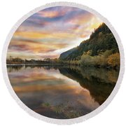 Benson State Recreation Area In Fall Round Beach Towel