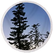 Bent Conifer Round Beach Towel
