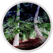 Bent Fir Tree Round Beach Towel
