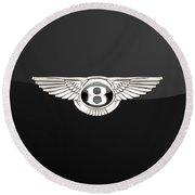 Bentley - 3 D Badge On Black Round Beach Towel