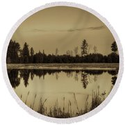 Bentley Pond Pines In Sepia Round Beach Towel
