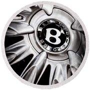 Bentley Wheel Emblem -0303ac Round Beach Towel