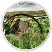 Bereft On The Grasslands T Round Beach Towel