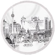 Berlin Medley Monochrome Round Beach Towel