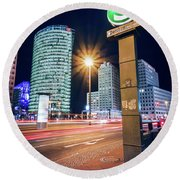 Berlin - Potsdamer Platz Square At Night Round Beach Towel
